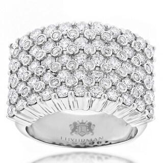 Luxurman 14k White Gold Men's 3 1/2ct TDW Diamond Ring (H-I, VS1-VS2)