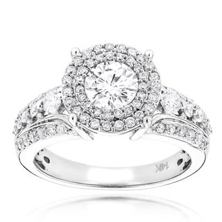 Luxurman 14k White Gold 1 3/4ct TDW Diamond Double Halo Engagement Ring (G-H, VS1-VS2)