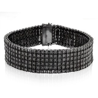 Luxurman Sterling Silver 1 1/3ct TDW Black Diamond 6-row Bracelet