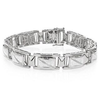 Luxurman White Goldplated Sterling Silver Men's 7/8ct TDW Diamond Bracelet (H-I, I1-I2)