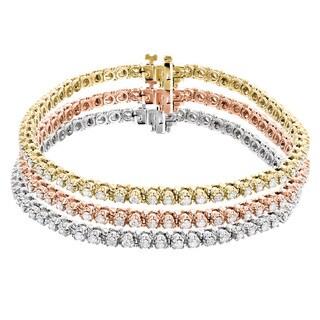 Luxurman 10k Tri-color Gold 4 1/2ct TDW Round Diamond Stackable Tennis Bracelet (H-I, SI1-SI2)