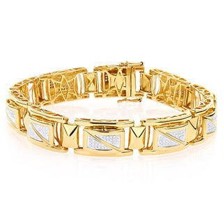 Luxurman Yellow Goldplated Silver Men's 7/8ct TDW Diamond Bracelet (H-I, I1-I2)
