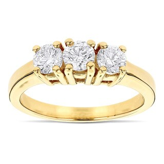 Luxurman 14k Gold 1ct TDW Diamond 3-stone Past Present Future Engagement Ring (G-H, SI1-SI2)