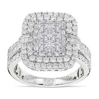 Luxurman 14k Gold 2 2/5ct TDW Diamond Designer Ring (G-H, VS1-VS2)