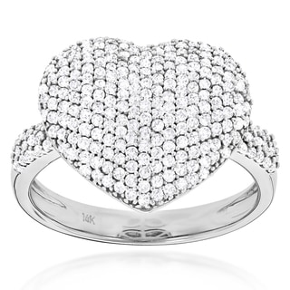 Luxurman 14k Gold 1ct TDW Diamond Pave Heart Ring (G-H, SI1-SI2)