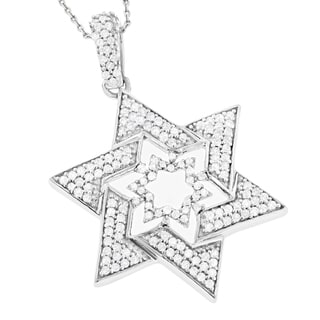 Luxurman 14k White Gold 3/5ct TDW Diamond Star of David Pendant (G-H, SI1-SI2)