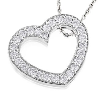 Luxurman 14k Gold 1 3/8ct TDW Round Diamond 'Floating Heart' Pendant (G-H, VS1-VS2)