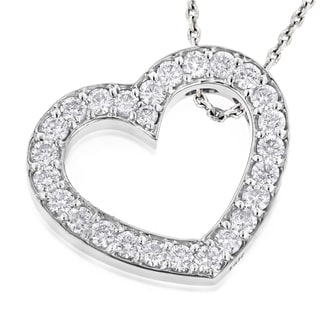 Luxurman 14k White Gold 1 3/8ct TDW Round Diamond Floating Heart Pendant (G-H, VS1-VS2)