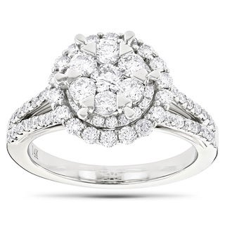 Luxurman 14k White Gold 1 3/4ct TDW Diamond Cluster Engagement Ring (G-H, VS1-VS2)