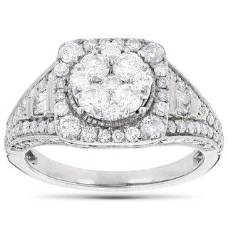 Luxurman 14k White Gold 2ct TDW Diamond Engagement Ring (G-H, VS1-VS2)