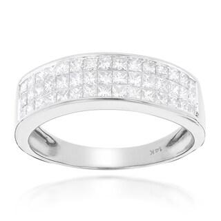 Luxurman 14k Gold 1 3/8ct TDW Princess-cut Diamond Wedding Band (G-H, SI1-SI2)