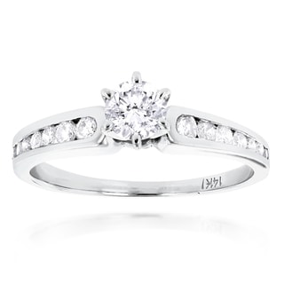 Luxurman 14k White Gold 4/5ct TDW Diamond Designer Engagement Ring (H-I, SI1-SI2)