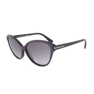 Tom Ford FT0342 83F Priscilla Cateye Sunglasses - Violet Blue Frame