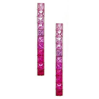14k white gold pink sapphire graduated earring