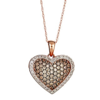 14k rose gold brown and white diamond necklace