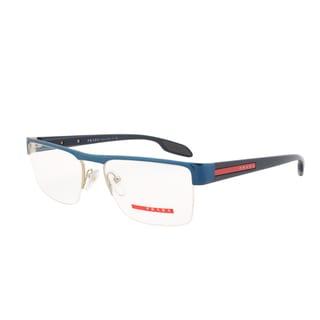 Prada Eyeglass Frames VPS 57E SMF-1O1, Blue and Gold Frame, Size 53