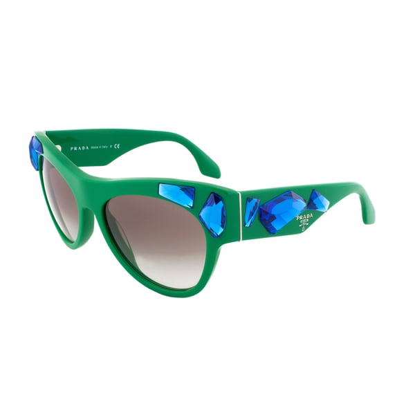 Prada Blue Crystal Voice Sunglasses SPR 22Q SMP-0A7, Green Frame, Grey Gradient Lens