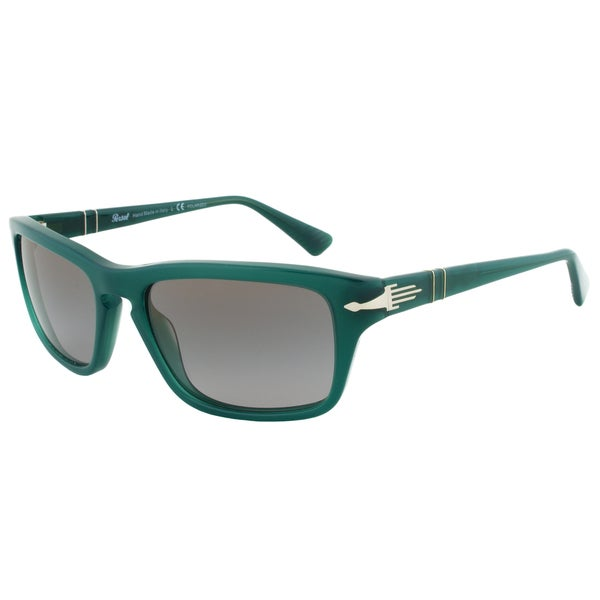 Persol PO3074-S 1001/M3 Film Noir Edition Sunglasses, Dark Green Frame, Grey Polarized Lens