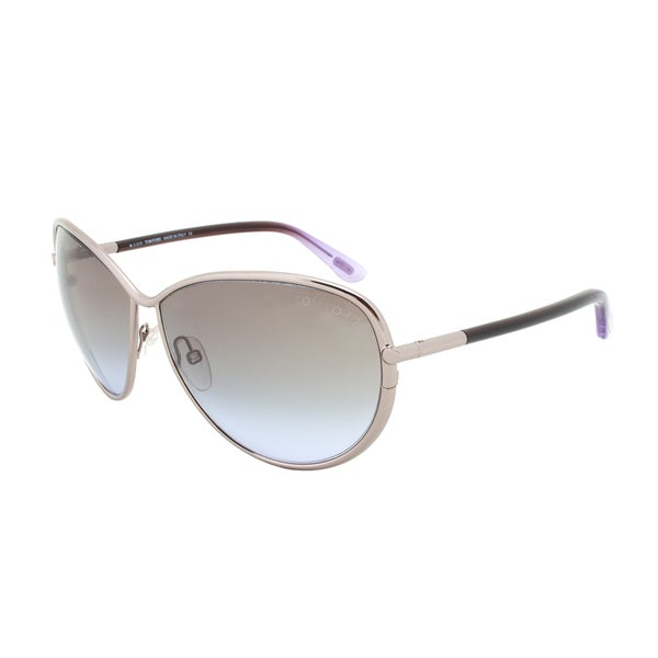 Tom Ford Francesca Sunglasses TF181 10B, Silver Frame, Grey Gradient Lenses