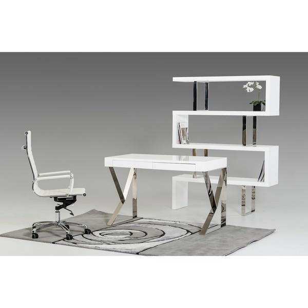 Ferris Modern White Lacquer Office Desk