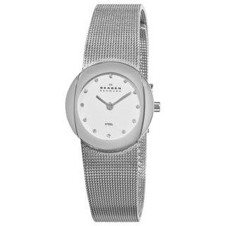 Skagen Women's Diamond Analog White Dial Stianless Steel Mesh Watch 589SSS