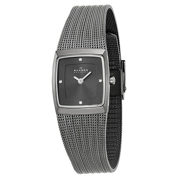 Skagen Women's Slimline Diamond Square Grey Dial Mesh Stainless Steel Watch 380XSMMM1
