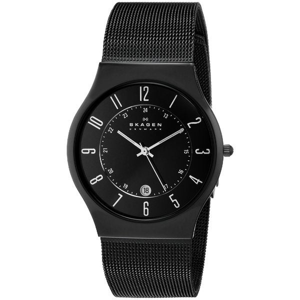Skagen Men's Analog Black Dial Black Titanium and Stainless Steel Mesh Watch 233XLTMB