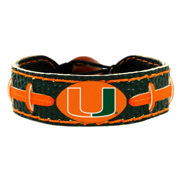 Miami Hurricanes Team Color NCAA Football Bracelet