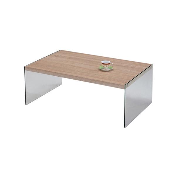 K & B CT-6257 Coffee Table Oak / Glass Finish