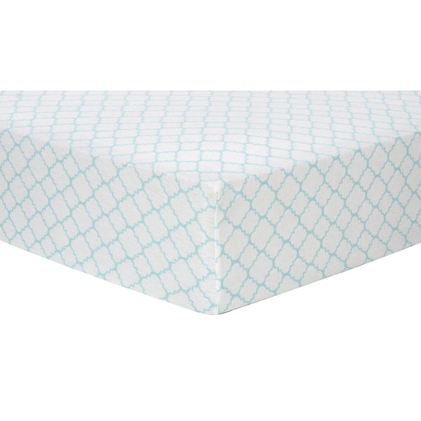 Trend Lab Mint Quatrefoil Deluxe Flannel Fitted Crib Sheet 15850966