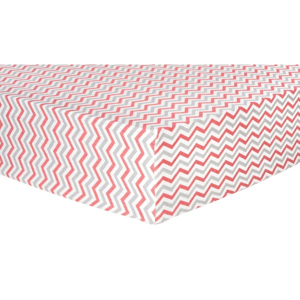 Trend Lab Coral and Grey Chevron Deluxe Flannel Fitted Crib Sheet 15850974