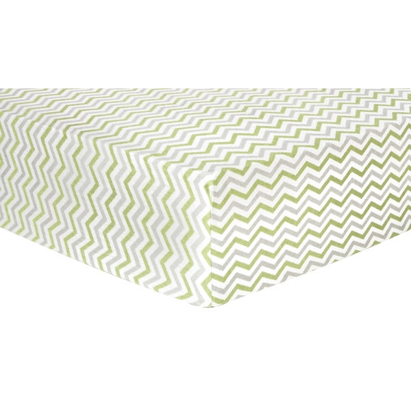 Trend Lab Sage and Grey Chevron Deluxe Flannel Fitted Crib Sheet
