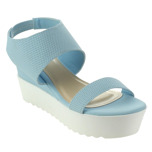 Bamboo Jezebel-03 Women's Ankle Strap White Lug Sole Platform Wedge Sandals