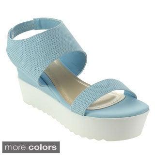 Bamboo Jezebel-03 Women's Ankle Strap White Lug Sole Platform Wedge Sandals