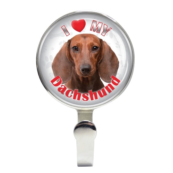 iLeesh I Love My Dachshund Brown Leash Holder