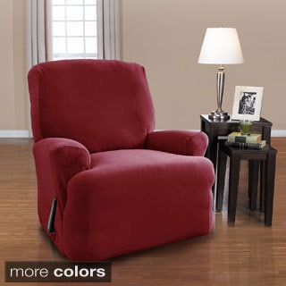 CoverWorks Harper 4-Piece Stretch Suede Recliner Slipcover