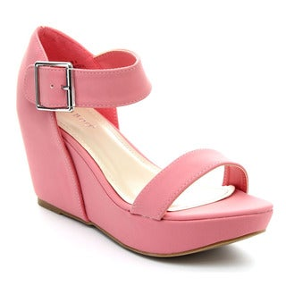 Bamboo Renata-50 Women's Ankle Strap Platform Wedge Sandals