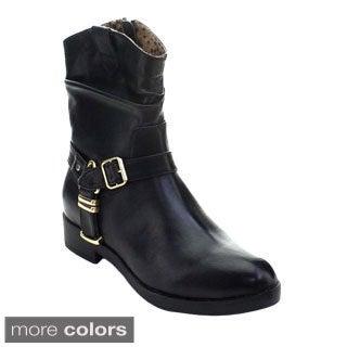 DBDK Atlanta-1 Women's Ankle Strap Moto Short Boots