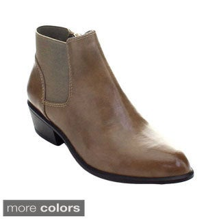 DBDK Catorce-1 Women Elastic Side Zipper Almond Toe Stacked Chunky Heel Booties