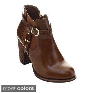 DBDK Nueve-2 Women's Ankle Strap Elastic Buckle Stacked Chunky Booties
