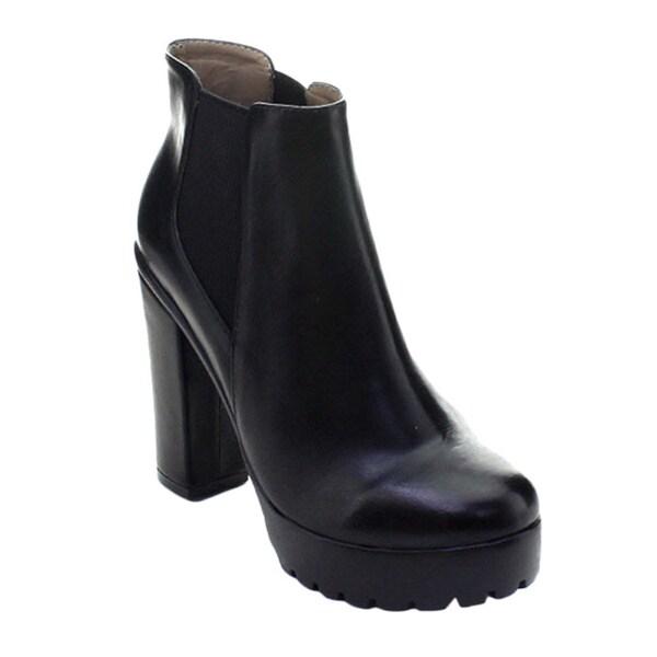 DBDK Seattle-1 Women Lug Sole Platform Chunky Heel Elastic Chelsea Ankle Booties