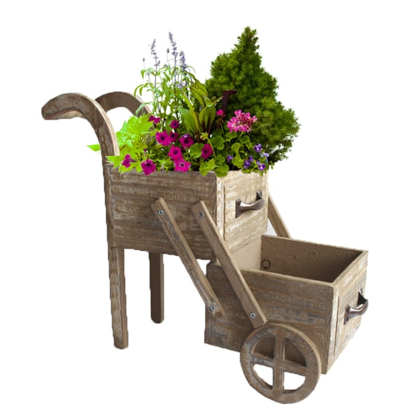 Double-tier Wood Planter Cart