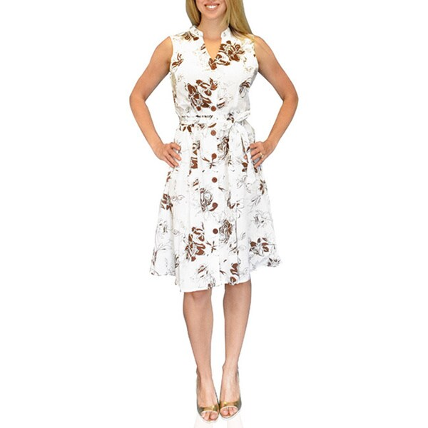 Peach Couture Women's White/ Brown Floral Button Up Shift Dress
