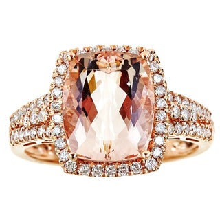 Anika and August 14k Rose Gold Cushion-cut Morganite 1/2ct TDW Diamond Ring (G-H, I1-I2) (Size 7)