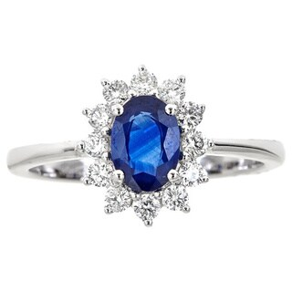 Anika and August 18k White Gold Oval-cut Ceylon Blue Sapphire 2/5ct TDW Diamond Ring (G-H, I1-I2)