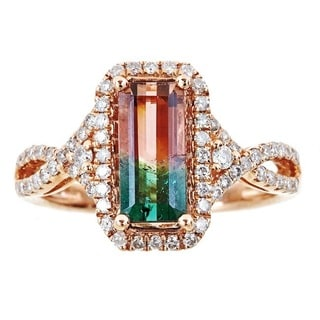 Anika and August 14k Rose Gold Emerald-cut Two-tone Tourmaline 1/2ct TDW Diamond Ring (G-H, I1-I2) (Size 7)