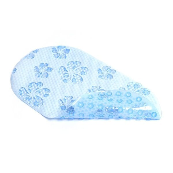 Con-Tact Brand Blue Hibiscus Bubble PVC Bath Mat (Pack of 4)
