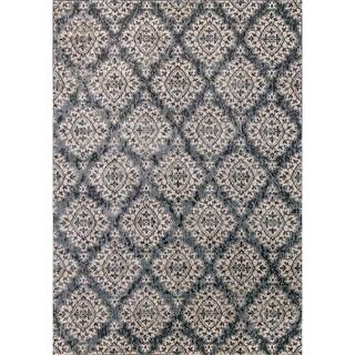 Cappella Floral Diamonds Blue Area Rug (7'10 x 10'10)