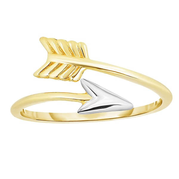 14k Yellow Gold Arrow Ring with White Gold Tip