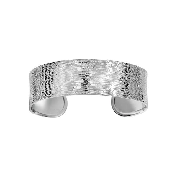 Sterling Silver Oval Ended Bangle with Rhodium Wood Finish